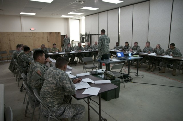 U.S. Army Reserve lieutenants attend a class to prepare them for an officer development competition of finding the military load classification of a Bailey bridge and surrounding area at Fort Hunter Liggett, Calif., during Combat Support Training Exercise 78-16-01. Nearly 40 units from the U.S. Army Reserve, U.S. Air Force and Canadian Armed Forces trained at Joint Base McGuire-Dix-Lakehurst, N.J., Fort Knox, Ky. and Fort Hunter Liggett, Calif., as part of the 84th Training Command's CSTX 78-16-01. This exercise marks the first CSTX of 2016 and is hosted by the 78th Training Division.