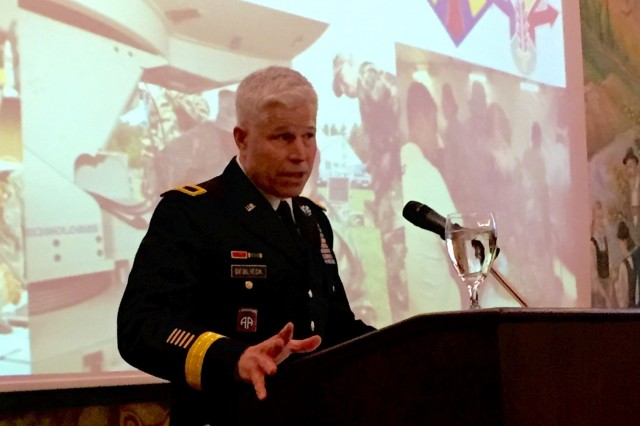 Army Reserve Brig. Gen. Arlan DeBlieck, commanding general of the 7th Mission Support Command and deputy commanding general of the 21st Theater Sustainment Command, speaks Wednesday, March 16, 2015, during the American Society of Military Comptrollers professional development event in Garmisch, Germany, at the Edelweiss Lodge. (Photo by 1st Lt. Stevie N. Hasenfus)