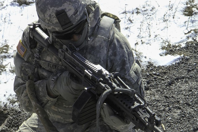 """Soldiers assigned to A Company """"Iron Horse,"""" 210th Brigade Support Battalion, 2nd Brigade Combat Team, conducted a seven-day field training exercise on Fort Drum that ended March 6."""