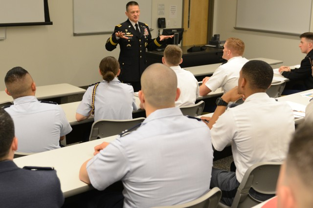 "Vice Chief of Staff of the Army Gen. Daniel B. Allyn talks about leadership to cadets of the U.S. Military Academy, West Point, New York, and Soldiers, at the ninth annual West Point Leadership and Ethics Conference at the Arlington, Virginia campus of George Mason University, March 17, 2016. The theme this year is ""Living an Honorable Life."""