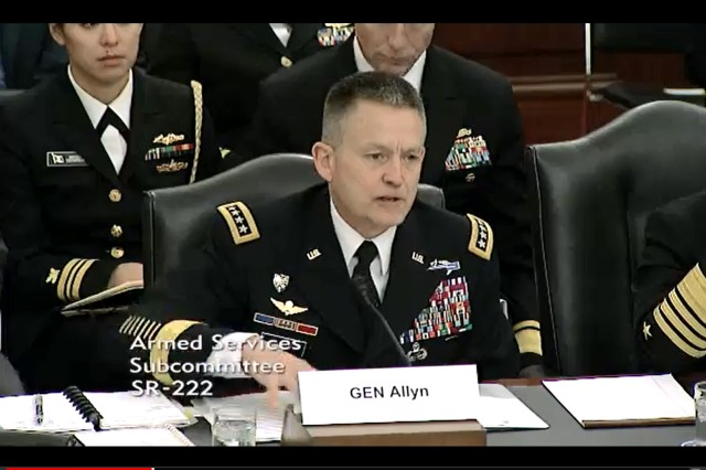 Vice Chief of Staff of the Army Gen. Daniel B. Allyn testifies to the Senate Armed Services Committee on the state of readiness, March 15, 2016.
