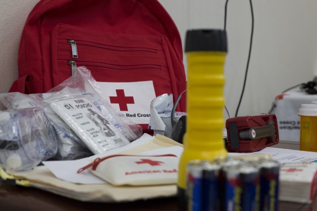 "Display of disaster preparedness kit at the Camp Zama Red Cross Barbecue, which was held March 15, in honor of Red Cross Month and in remembrance for the fifth anniversary of the ""Great East Japan Earthquake and Tsunami,"" which cause catastrophic damage to Japan's eastern coast on March 11, 2011.  (U.S. Army photo by Alia Naffouj)"