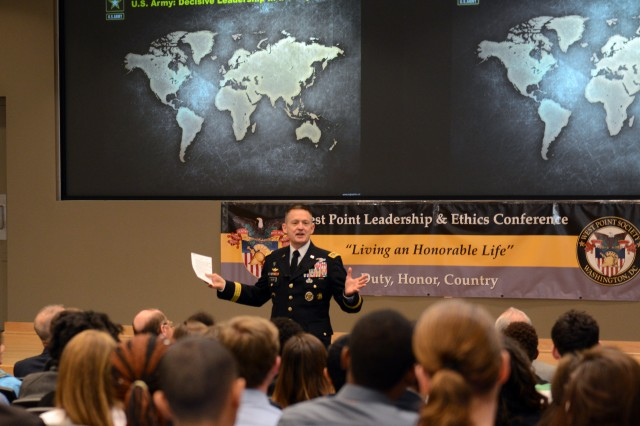 """Vice Chief of Staff of the Army Gen. Daniel B. Allyn discusses leadership with university students at the ninth annual West Point Leadership and Ethics Conference at the Arlington, Va., campus of George Mason University, March 17, 2016. The theme this year was """"Living an Honorable Life."""" He spoke to cadets earlier in the day."""