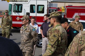 First Kazakhstan military delegation observe the US Army's NCO corps