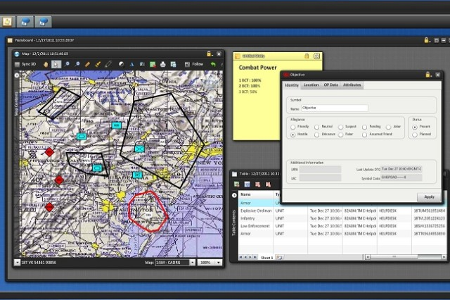 Core Command Web widgets include the Maneuver widget (above) and Common Map widget. The map enables multiple widgets to display graphics on a single map. This customizable view runs on the common map widget that is accessible from any web-enabled device with the scalability to visually display relative data.