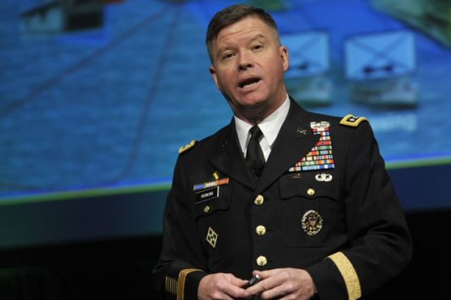 Gen. David Perkins presents at the AUSA Global Force Symposium and Exhibition, March 17.