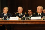Air Force Maj. Gen. Brian Neal, acting director, Air National Guard; Army Lt. Gen. Timothy Kadavy, director, Army National Guard; and Army Gen. Frank Grass, chief, National Guard Bureau, testify at a hearing on the posture of the National Guard and Reserves before the Senate Appropriations Subcommittee on Defense, March 16, 2016.