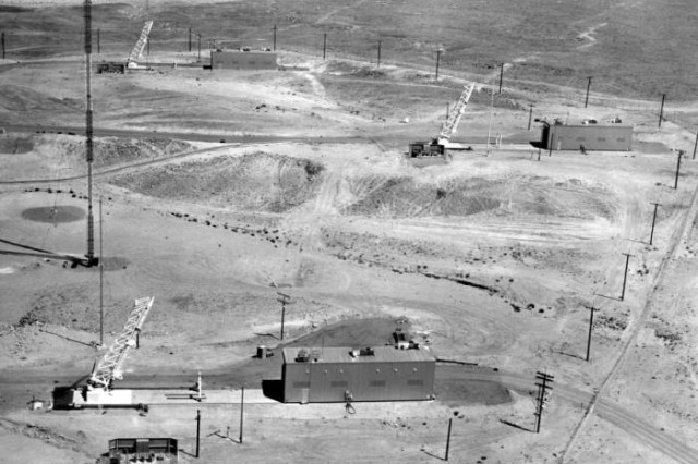 Athena missile launch complex at Green River Test Site. Climate control shelters are rolled back to expose launcher.