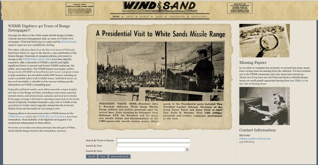 Wind and Sand historical newspaper website