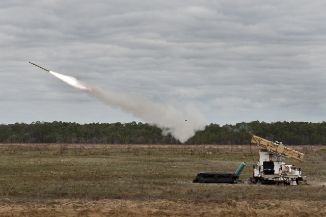 An FIM-92 Stinger missile is fired downrange from the Army's new Multi-Mission Launcher tube at an Eglin Air Force Base range March 23, 2016. The Air Force's 96th Test Wing hosted the Army's Cruise Missile Defense Systems Project Office and Raytheon to demonstrate the new launch platform's capabilities.