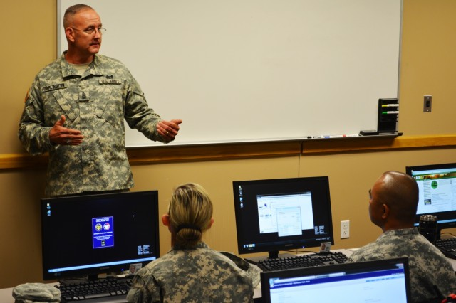 "Command Sgt. Maj. Jeff Darlington, senior noncommissioned officer 80th Training Command, addresses students attending the inaugural class of the command's Staff and Faculty Development Academy at Grand Prairie, Texas, March 7, 2016. The academy's first class was the Foundation Instructor Facilitator Course which is designed to have instructors modify their traditional lecture styled teaching method to a more facilitative approach. The FIFC, which will eventually replace the Army Basic Instructor course, implements principles of adult learning and is meant for established Soldiers looking to learn an additional Military Occupational Specialty. ""You're gonna be training the future of the Army,"" Darlington told the students. ""Drill Sergeants turn civilians into Soldiers and we turn Soldiers into War fighters."" Other classes taught at the academy will include a Small Group Instruction course and eventually The Army School System Leader course, taught quarterly."