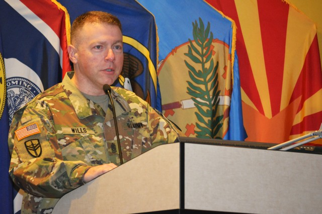"Command Sgt. Maj. James Wills, the former 80th Training Command senior noncommissioned officer, who's now the interim Army Reserve senior NCO, addresses leaders of the 94th Training Division at Fort Lee, Va., March 18, 2016. Wills told the audience that staff and faculty development was one of the most critical aspects of the division's mission.  ""If you don't teach in a professional manner in a professional forum, your credibility goes out the door,"" he said. ""So understand the importance and embrace it, because it's not going away."" Wills conceptualized the 80th TC's first ever Staff and Faculty devilment Academy with the intent of consolidating the command's Staff and Faculty Development mission. Before the school's inception, subordinate units taught their own Army Basic Instructor Courses and lacked a set standard for staff and faculty development."
