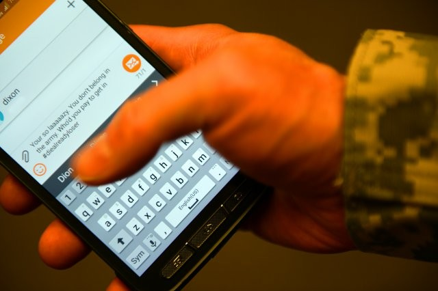 "If people are still unsure of what bad behavior looks like online, the Army clarified it for them in an ""All Army Activities"" message.  Online misconduct, it says, is ""the use of electronic communication to inflict harm. Examples include, but are not limited to: harassment, bullying, hazing, stalking, discrimination, retaliation, or any other types of misconduct that undermine dignity and respect.""  Photo by Todd Lopez."