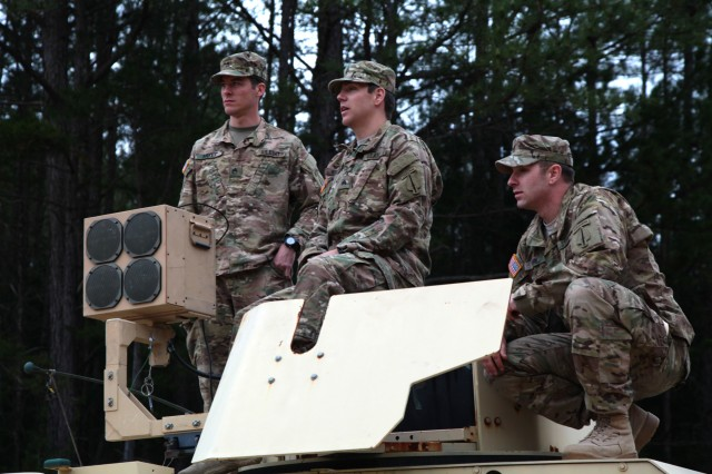 A tactical psychological operations team from the 9th Military Information Support Battalion broadcasts an emergency message during civil support training at Camp Butner, N.C., March 19. The training was based on a civil authority information support mission during which 3rd MISB supported other federal entities in gathering and disseminating lifesaving information during a simulated natural disaster.