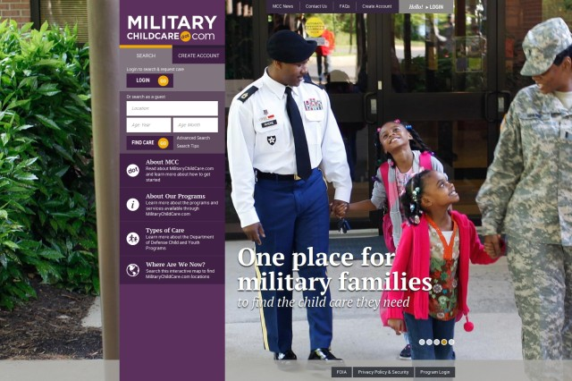 Screenshot of Military Childcare's website -- designed to be a one-stop DoD-wide resource for military families needing child care services.