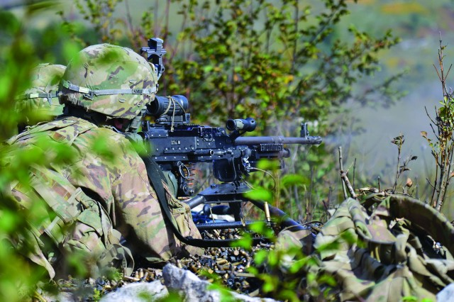 U.S. paratroopers from 2nd Battalion, 503rd Infantry Regiment, 173rd Airborne Brigade, engage targets with the M240 machine gun during a live-fire exercise as part of Exercise Rock Proof V at Pocek Range in Postonja, Slovenia, in October 2015.