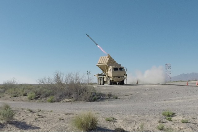 An AIM-9X missile was successfully fired from the Army's new Multi-Mission Launcher at White Sands Missile Range, March 29, 2016. Pictured is the Army's newest missile launch platform, the Indirect Fire Protection Capability Increment 2-Intercept (IFPC Inc 2-I) Multi-Mission Launcher (MML) as it fires the AIM-9X missile.