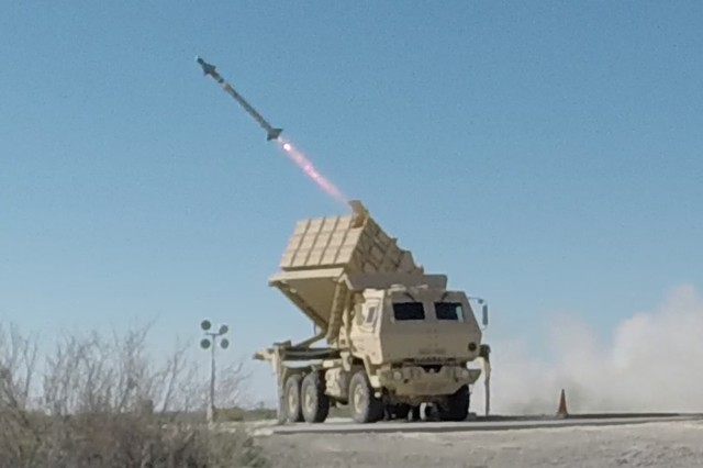 An AIM-9X missile was successfully fired from the Army's new Multi-Mission Launcher at White Sands Missile Range, March 29, 2016. Pictured is the Army's newest missile launch platform, the Indirect Fire Protection Capability Increment 2-Intercept Multi-Mission Launcher as it fires the AIM-9X missile.