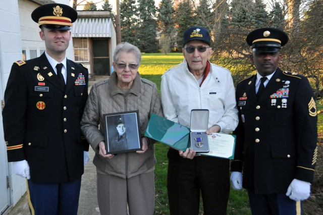 On March 29, Capt. Koncar and Sgt. 1st Class Lafon from the U.S. Army Reserve's 733rd transportation company in Reading, Pennsylvania, presented the Purple Heart to the family of Sgt. Wilson Meckley Jr. Meckley was considered Missing in Action on Dec. 2, 1950 near the Chosin Reservoir, North Korea during the Korean War. On April 9, 2015, repatriated remains from the battlefield were analyzed, identifying them as Meckley's.