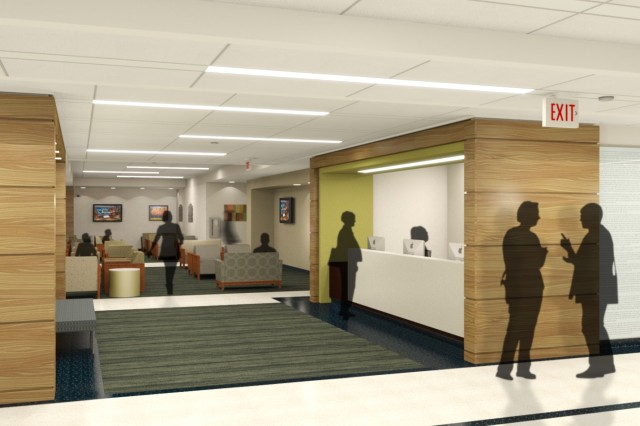 Artist rendition of the Keller lobby after the renovation. Image provided by Millcreek and United Excel Corp.