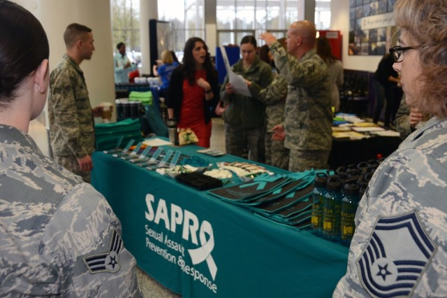 A booth at the kick-off event in the Kaiserslautern Military Community for Sexual Assault Awareness and Prevention Month.