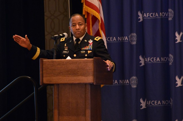 "Lt. Gen. Robert S. Ferrell, the Army CIO/G-6, announced the release of the Army's new, long-term, network strategy called ""Shaping the Army Network (2025-2040),"" during a conference, March 31, in Tyson's Corner, Virginia."
