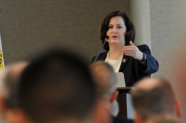 Assistant Secretary of the Army (Installations, Energy & Environment) Katherine Hammack addresses readiness through installation resourcing, opportunity and efficiency, March 31 in Arlington, Va.