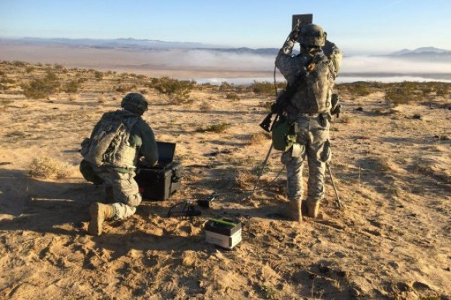 Soldiers with the 780th Military Intelligence Brigade conduct cyberspace operations during a training rotation for the 2nd Stryker Brigade Combat Team, 2nd Infantry Division, at the National Training Center at Fort Irwin, Calif., Jan. 24.