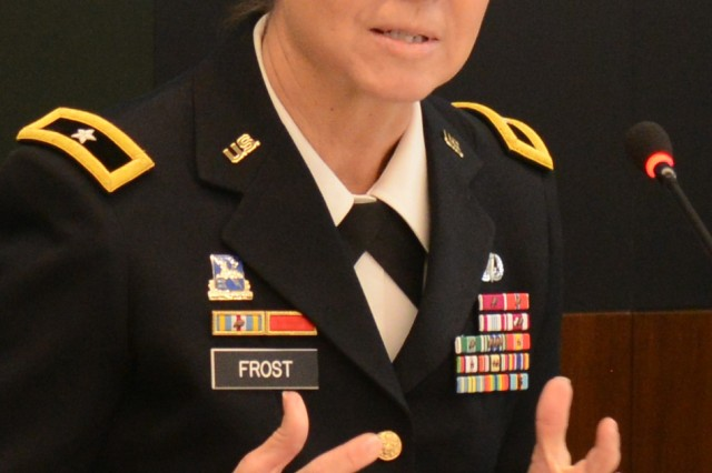 Brig. Gen. Patricia A. Frost, deputy commanding general (Operations), U.S. Army Cyber Command, describes cyber electromagnetic activities, March 31, 2016, at a Hot Topics forum on Army Installation Management.