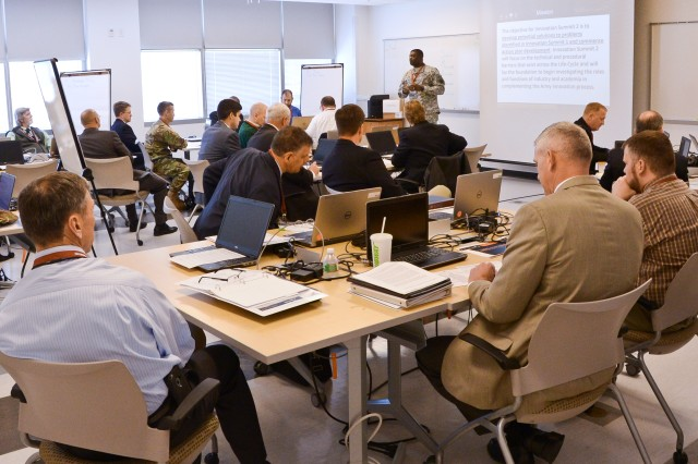 Break-out groups meet during the summit to develop specific proposals to overcome barriers to innovation. The teams briefed Gen. Dennis Via, U.S. Army Materiel Command commanding general before the event adjourned April 6, 2016.