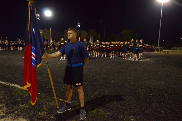 A Soldier stands ready to begin the 193rd Infantry Brigade's run to support the Army's Sexual Assault Awareness and Prevention Month. 'Sexual assault and sexual harassment is a cancer within our ranks,' said Col. Milford Beagle, the 193rd commander. 'We have to eliminate that cancer.' The run is just one of many events taking place on post this month.