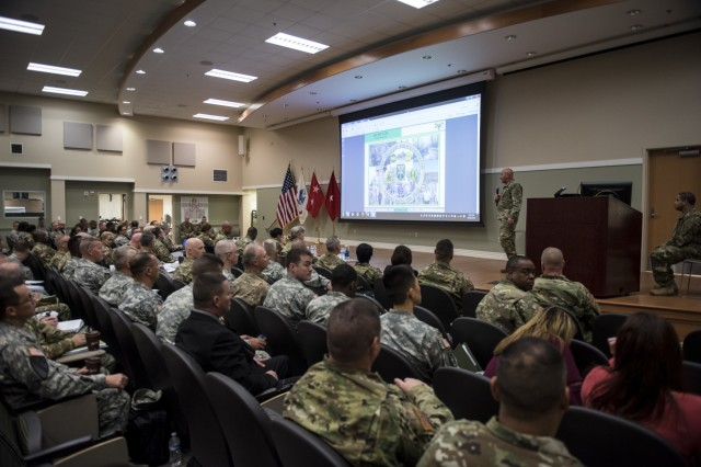 More than a hundred leaders and senior staff members from various military police battalions and brigades joined the 200th Military Police Command headquarters leadership and senior staff for a four-day workshop and Yearly Training Brief conference held in Columbus, Ohio, on April 2. During the event, battalion and brigade leaders worked to improve their readiness and briefed the commanding general and his command leadership on their units' status. (U.S. Army photo by Master Sgt. Michel Sauret)