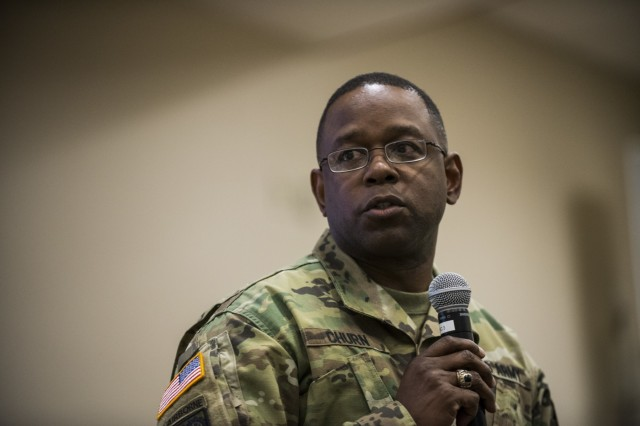 Maj. Gen. Phillip Churn, commanding general of the 200th Military Police Command, talks to his command staff, brigades and battalions leaders on the final day of a Yearly Training Brief conference held in Columbus, Ohio, April 3. During the event, battalion and brigade leaders worked to improve their readiness and briefed the commanding general and his command leadership on their units' status. (U.S. Army photo by Master Sgt. Michel Sauret)