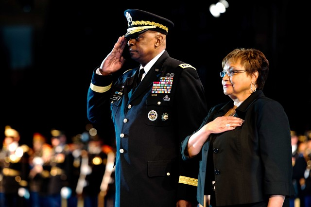 U.S. Army Gen. Lloyd J. Austin III and wife, Charlene, participate in a special retirement review and farewell hosted by U.S. Army Chief of Staff Gen. Mark Milley in Conmy Hall on the Fort Myer portion of Joint Base Myer-Henderson Hall, April 5. Austin, who most recently served as the commander for U.S. Central Command, retired from the Army after 41 years of service.