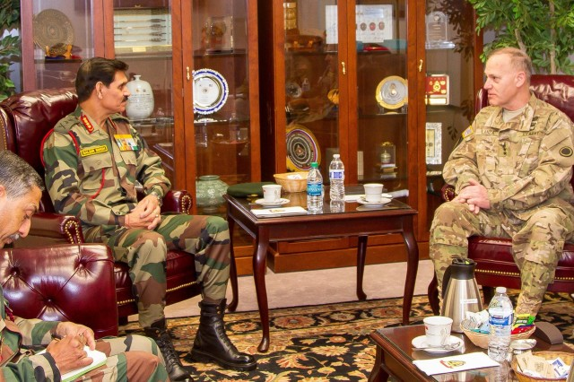 Gen. Dalbir Singh, chief of staff of India's army and Lt. Gen. Stephen R. Lanza, I Corps commanding general, discussed opportunities for future mil-to-mil engagements when the two met during Singh's visit April 4-6, 2016,  to Joint Base Lewis-McChord, Washington.