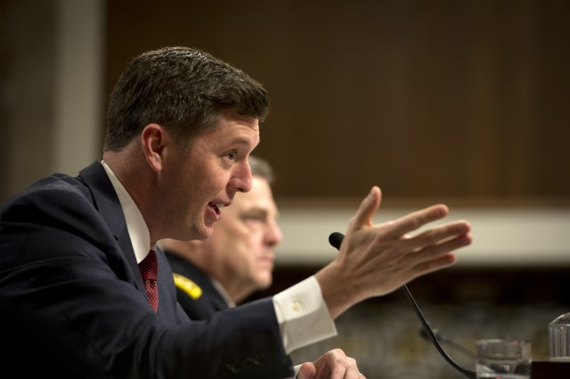 Acting Secretary Patrick Murphy testify to the U.S. Senate Committee on Armed Services on the posture of the Department of the Army at Capitol Hill in Washington, D.C., April 7, 2016.