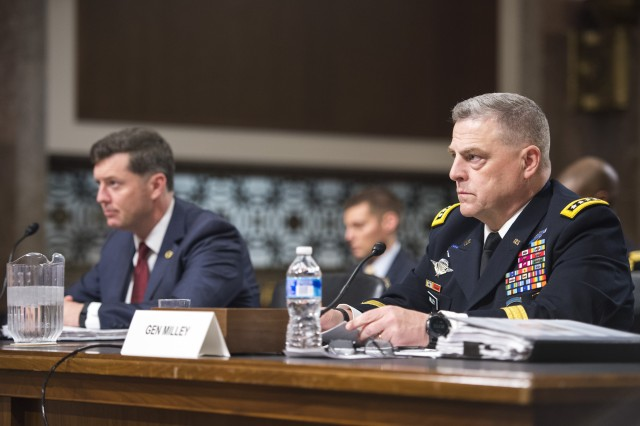 Chief of Staff of the Army Mark Milley and Acting Secretary Patrick Murphy testify to the U.S. Senate Committee on Armed Services on the posture of the Department of the Army at Capitol Hill in Washington, D.C., April 7, 2016.