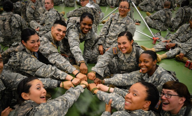Fort Leonard Wood Soldiers show off their Strong B.A.N.D.S. wristbands