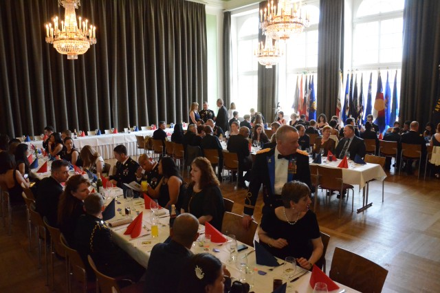 ANSBACH, Germany (April 12, 2016) -- The guests take their seats before the ceremony. The Ansbach High School Junior Reserve Officer Training Corps held a ball in downtown Ansbach Thursday evening, and several guests from U.S. Army Garrison Ansbach took part in the event. (U.S. Army photo by Bryan Gatchell, USAG Ansbach Public Affairs)
