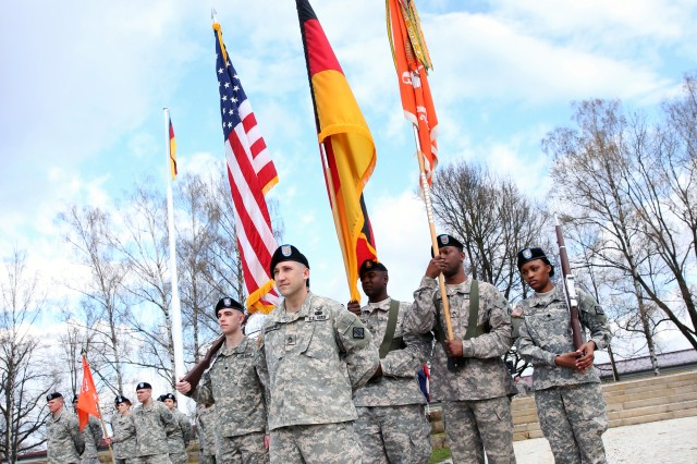 Master Sgt. Benjamin VanHorne, commander of troops, leads the color guard at the 52nd Signal Battalion change of responsibility ceremony April 7, 2016 at Patch Barracks in Stuttgart.