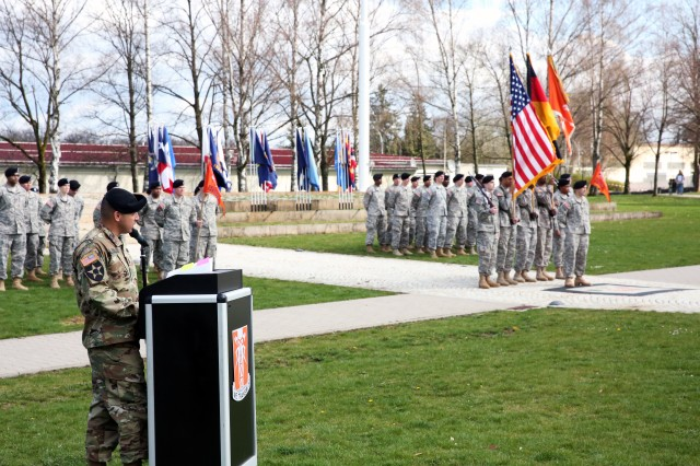 Command Sgt. Maj. Danny Rebolledo, 52nd Signal Battalion incoming senior enlisted advisor, speaks at the 52nd Signal Battalion change of responsibility ceremony April 7, 2016 at Patch Barracks in Stuttgart.