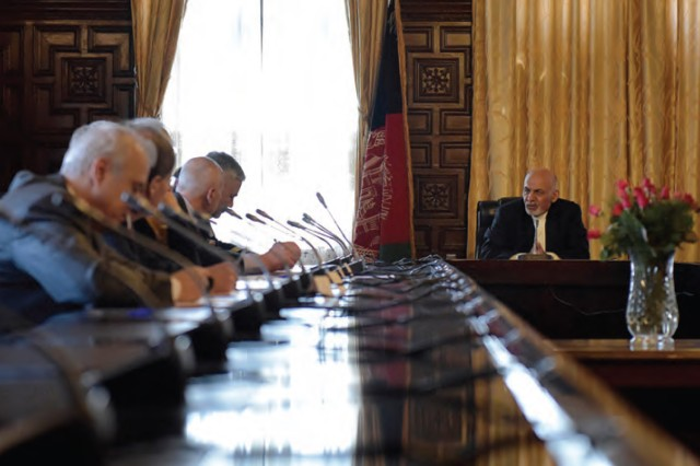 Afghan President Ashraf Ghani speaks with NATO Framework Ambassadors during an April 2015 meeting at the Presidential Palace in Kabul. Ghani established the National Procurement Authority to help bring much-needed transparency to Afghanistan's corrupt procurement system. Combined Security Transition Command -- Afghanistan's efforts are helping to build that capability.