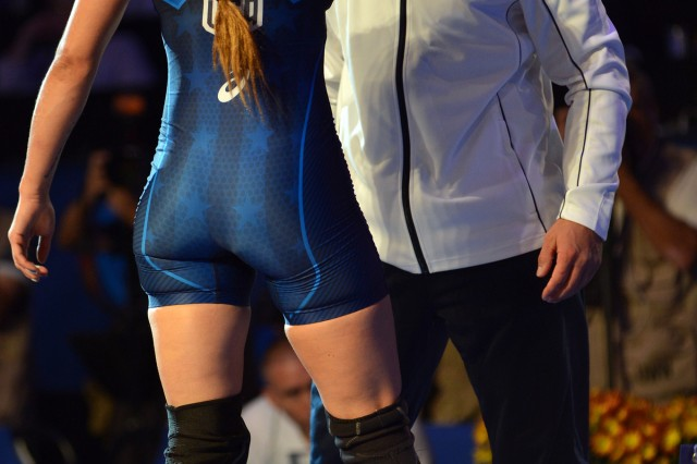 U.S. Army World Class Athlete Program women's wrestling coach Staff Sgt. Aaron Sieracki looks into the eyes of WCAP Capt. Leigh Jaynes-Provisor after she defeats Irina Netreba of Azerbaijan 4-4 on critieria to win the bronze medal in the women's freestyle 60-kilogram division of the 2015 World Wrestling Championships, Sept. 11, at the Orleans Arena in Las Vegas.