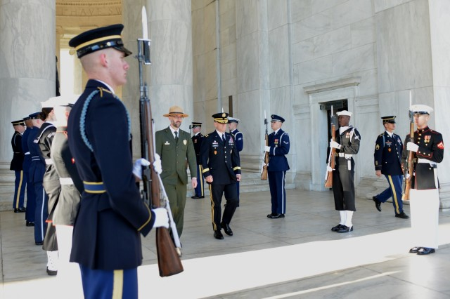 Maj. Gen. Bradley A. Becker, Joint Force Headquarters - National Capital Region and the U.S. Army Military District of Washington commanding general, and Paul Ollig, chief of Interpretation and Education for the National Mall and Memorial Parks, participate in an Armed Forces Full Honors Wreath Ceremony at the Thomas Jefferson Memorial, Washington D.C., April 13, 2016.