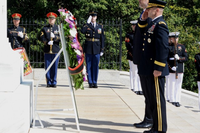 Maj. Gen. Bradley A. Becker, commanding general, U.S. Army Military District of Washington hosted His Excellency Edi Rama, Prime Minister of the Republic of Albania, during an Armed Forces Full Honors Wreath-Laying Ceremony at the Tomb of the Unknown Soldier in Arlington National Cemetery April 13, 2016.