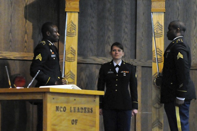 Sgt. Stephanie Barton was one of 13 recently promoted sergeants to be welcomed into the Noncommissioned Officer Corps during a ceremony Friday.