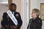 Sgt. 1st Class Rich Richardson meets with a member of the Women's Club of San Antonio in March as part of the 125th Fiesta San Antonio Miss Teen Queen Reception. Richardson is one of 10 military ambassadors representing Joint Base San Antonio during 2016 Fiesta season. He is an operations noncommissioned officer assigned to the 412th Contracting Support Brigade.
