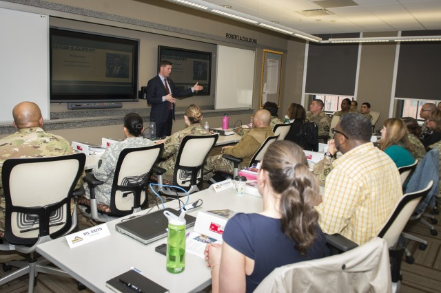 Acting Secretary of the Army Patrick J. Murphy, visited the Sexual Harassment/Assault Response and Prevention (SHARP) Academy at Fort Leavenworth, Kan., Thursday, March 24, 2016, and spoke with a class of future Victim Advocates and Sexual Assault Response Coordinators.