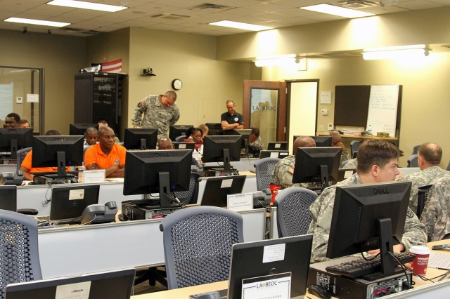 The Louisiana National Guard's cyber protection teams, in partnership with state and federal government officials, came together at Louisiana State University's Stephenson Disaster Management Institute, in Baton Rouge, to participate in a Vigilant Guard exercise to rehearse and demonstrate the capabilities of maintaining cyber security, April 13, 2016. Vigilant Guard is a federally funded exercise that is supported by the National Guard Bureau and sponsored by the United States Northern Command (USNORTHCOM), whose mission is to provide homeland defense, civil support and security cooperation to defend and secure the United States and its interests.