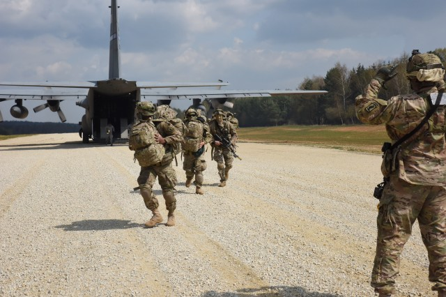 173rd Airborne Brigade mass combat power by air landing at the Short Take Off Landing strip Hohenfels Training Area (Germany) during exercise Saber Junction 16. Saber Junction 16 is U.S. Army Europe 2016 Decisive Action Training Environment (DATE) rotation, taking place at the Hohenfels Training Area. DATE provides a complex training environment designed to evaluate and certify the readiness of the 173rd Airborne Brigade to execute land operations in a joint, combined environment and to promote interoperability with participating allied and partner nations